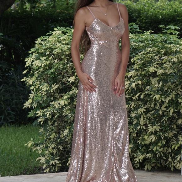 4cfae2127dd8 J Namor Dresses | Sequin Open Back Maxi Dress Rose Gold | Poshmark